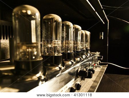 Tube guitar amplifier. Rear view