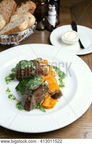 Platter, Steak With Pumpkin Puree. Herbs And Sauce. Restaurant, Dinner, Bread, White Dishes, Wooden