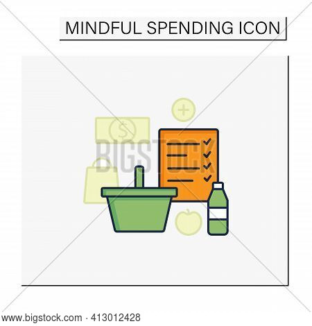 Shopping List Color Icon. Make Shopping List. Planning Buying. Only Needed Products. Thoughtful Spen