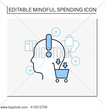 Conscious Consumption Line Icon. Thoughtful Shopping. Thoughtful Spending Money. Buying Necessary Th
