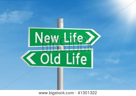 Road Sign Of New Life And Old Life