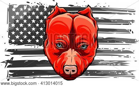 American Flag With Head Of Dog Vector Illustration