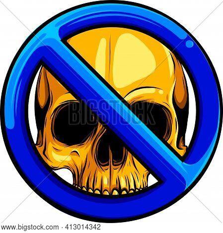 Gold Human Skull With Symbol Of Ban