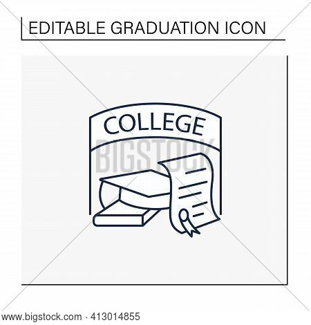 College Graduation Line Icon. Successful Training Completion. Books And Graduate Hat. Diploma.bachel