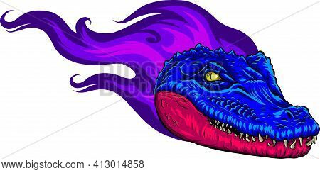 Vector Illustration Of Colored Fiery Head Alligator