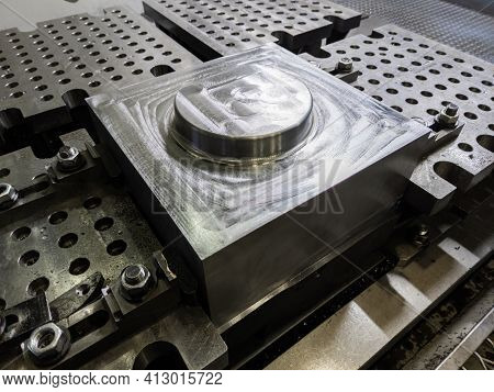 Large Steel Workpiece After Cnc Surface Milling On Table Of Milling Machine, Industrial Cnc Technolo