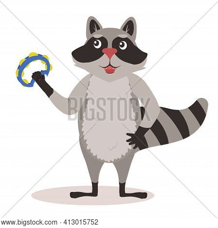 Vector Illustration Of A Raccoon With A Musical Tambourine In His Hands. Isolate On A White Backgrou