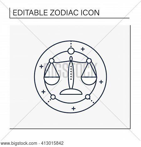 Libra Line Icon. Seventh Fire Sign In Zodiac. Scales Birth Symbol. Mystic Horoscope Sign. Astrologic
