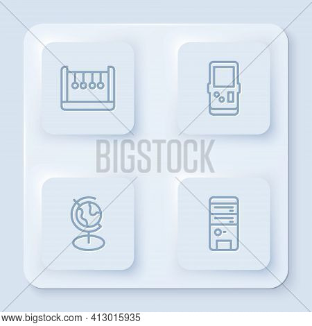 Set Line Pendulum, Tetris, Earth Globe And Computer. White Square Button. Vector