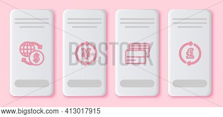 Set Line Money Exchange, Coin Money With Yen, Credit Card And Pound. White Rectangle Button. Vector