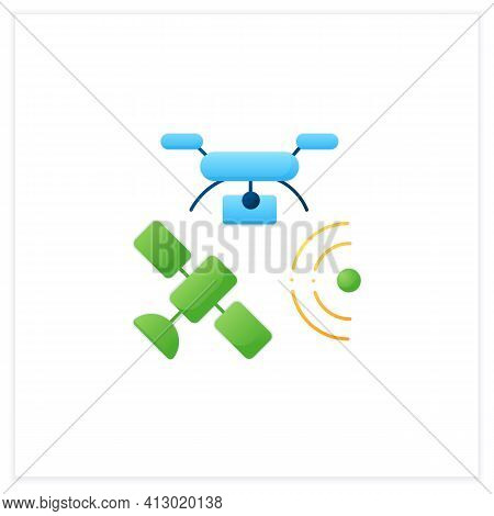 Drones Photography Flat Icon. Provide In-depth And Varied Data For Their Clients. Used For Classific