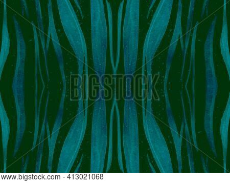 Seamless Ethnic Pattern. Abstract Exotic Fabric Design. Geometric Wildlife Wallpaper. Green Tiger Fu