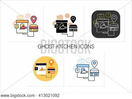 Ghost Kitchen Icons Set. Preparation Delivery-only Meals. Contain Kitchen More Than One Restaurant B