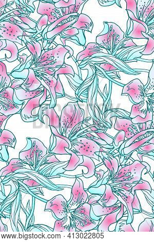 Gentle Colored Silhouettes, Flower Buds And Leaves Of Lily Flowers Seamless Pattern.. Contemporary H