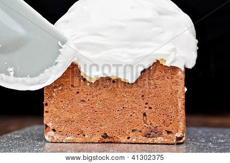Spreading Cream On Cake With Spatula