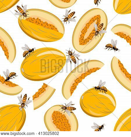 Vector Pattern With Melons And Bees.yellow Melons And Bees On A White Background In A Seamless Patte