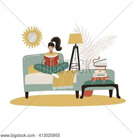 Young Woman Reading Book In Bed. Relaxed Girl Comfortable Sitting On Bed With Blanket And Read. Scan