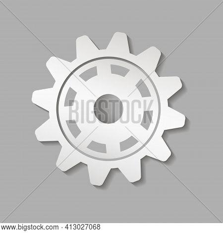 Metal Gear. Factory Gear Vector Icon. Mechanical Gear. The Image Of The Gear. Machine Gear. Cogwheel