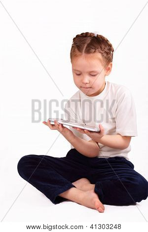 Attractive Little Girl With Ipad
