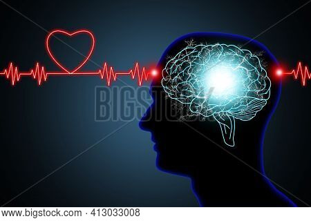 Human Brain And Nerve Or Blood Vessel Concept Illustration In Silhouette Black Head And Neon Red Lig
