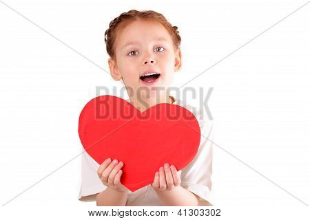 Beautiful Little Girl With A Big Red Heart For Valentine's Day