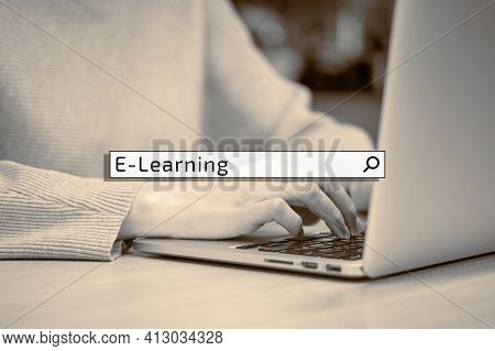 Concept Of Searching Online Learning In The Search Bar On The Background Of A Woman With A Laptop