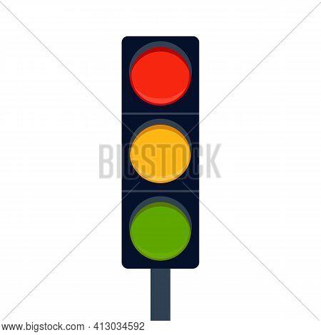 Signal Traffic Light On Road, Stoplight. Direction, Control, Regulation Transport And Pedestrian. Ve