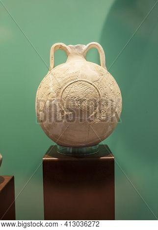 Lisbon, Portugal - March The 1st, 2020: Pilgrim Flask From Khor Fakkan, United Arab Emirates. 15th C