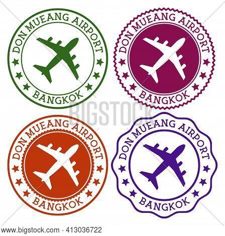 Don Mueang Airport Bangkok. Bangkok Airport Logo. Flat Stamps In Material Color Palette. Vector Illu