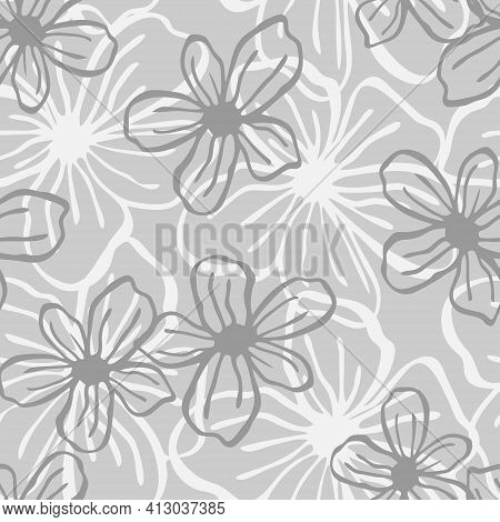 Floral Seamless Pattern. Lines Vector Buds, Line Art