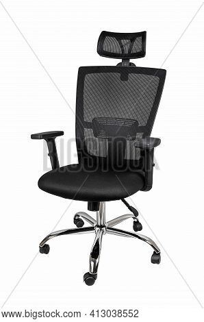 Mesh Ergonomic Office Chair Isolated On White Background. Modern Comfortable Armchair With Adjustabl