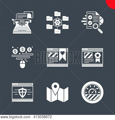 Seo Related Vector Glyph Icons Set. Isolated On Black Background. Website Ranking, Copywriting, Effi