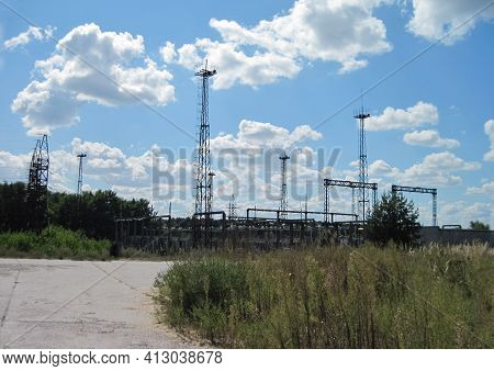 An Old Power Substation. Electrical Equipment At The Substation.