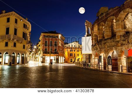 Full Moon Above Piazza Bra And Ancient Roman Amphitheater In Verona, Italy