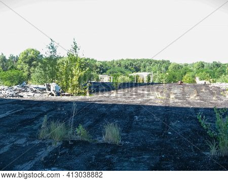 Panorama View From The Roof Of The Destroyed Power Plant Building. Chigirin Nuclear.