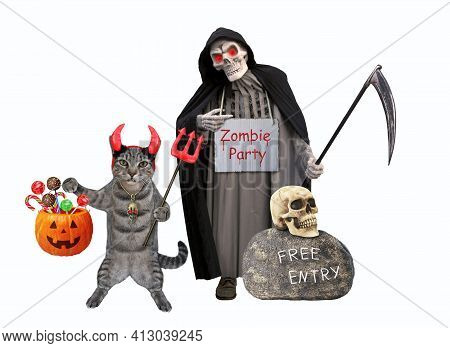 A Gray Cat In Horns Is Holding A Devil Trident And A Pumpkin Pail At A Grim Reaper For Halloween. Wh