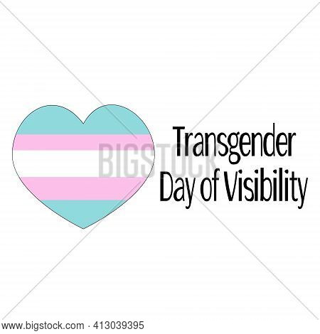 Transgender Day Of Visibility, Heart In Three Symbolic Colors Vector Illustration