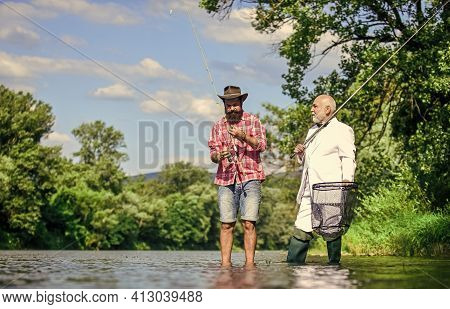 Great Day For Fishing. Hobby Of Businessman. Retirement Fishery. Happy Fishermen In Water. Retired F