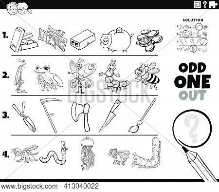 Black And White Cartoon Illustration Of Odd One Out Picture In A Row Educational Game For Children W
