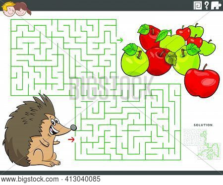 Cartoon Illustration Of Educational Maze Puzzle Game For Children With Hedgehog Animal Character And