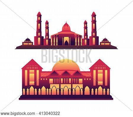 Muslim Mosque Mosque Vector Design. Beautiful Muslim Mosque Illustration.