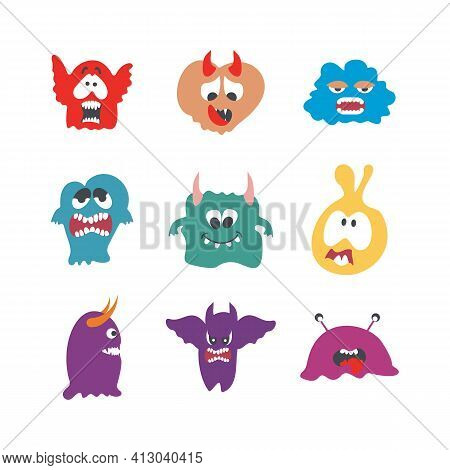 Monsters Characters Set Flat With Fun Cheerful Furious Scary Angry Creatures Isolated Vector Illustr