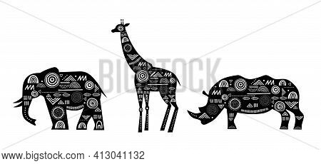 Africa Banner With Patterned Giraffes, Elephant And Rhino Horn, Black And White Tribal Banner