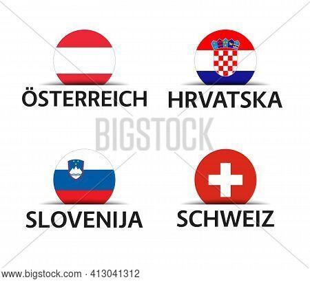 Austria, Croatia, Slovenia And Switzerland. Set Of Four Austrian, Croatian, Slovenian And Swiss Stic