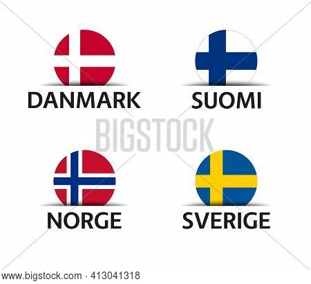 Denmark, Finland, Norway And Sweden. Set Of Four Danish, Finnish, Norwegian And Swedish Stickers. Si