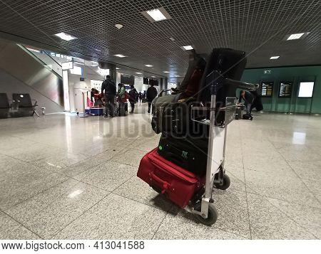Krakow, Poland - September 30, 2019: Interior Of John Paul Ii Kraków-balice International Airport Wi