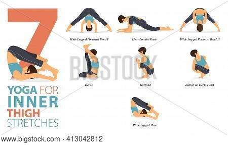 Infographic 7 Yoga Poses For Workout In Concept Of Inner Thigh Stretch In Flat Design. Women Exercis