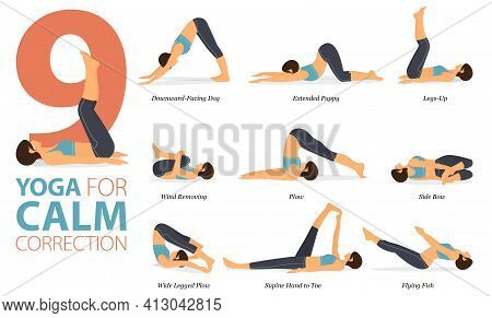 Infographic 9 Yoga Poses For Workout In Concept Of Calm Correction In Flat Design. Women Exercising