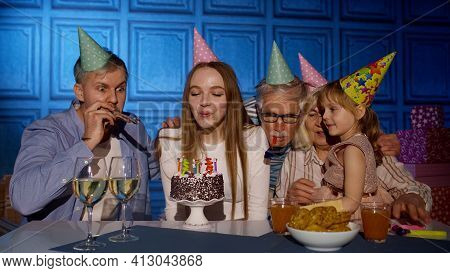 Big Multigenerational Family Celebrating Young Mother Woman Birthday Anniversary Party At Home