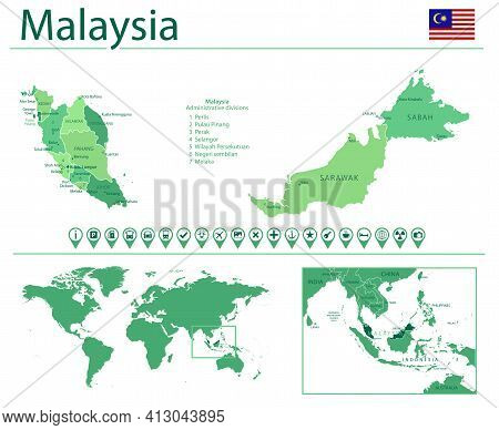 Malaysia Detailed Map And Flag. Malaysia On World Map.